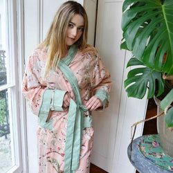Georgina Ladies Dressing Gown - Peach Blossom - JaneAusten.co.uk
