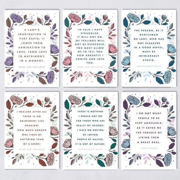 Jane Austen Quote Postcards - Pack of 12 - JaneAusten.co.uk