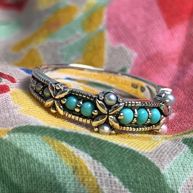 Turquoise & Freshwater Pearl Sterling Silver Ring - Jane Austen Online