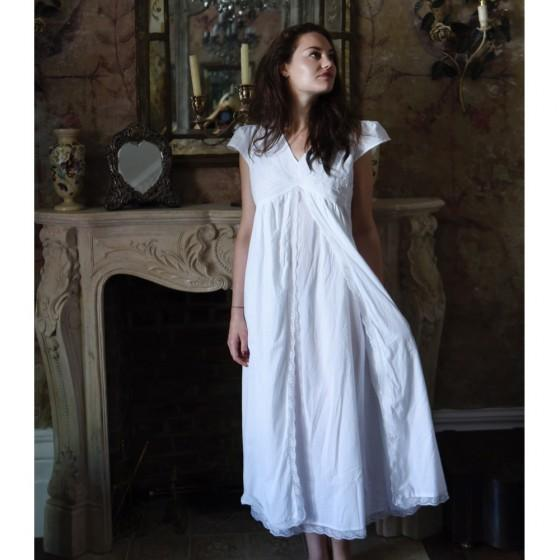 Cotton Regency Nightgown - Marianne - Jane Austen Online