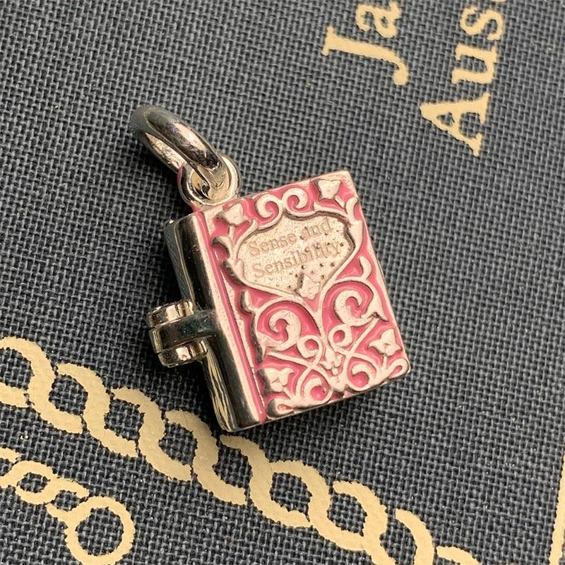 Sterling Silver and Enamel Sense and Sensibility Book Charm - JaneAusten.co.uk