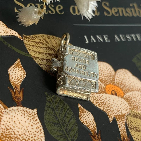 Sense and Sensibility Silver Book Charm Pendant - JaneAusten.co.uk