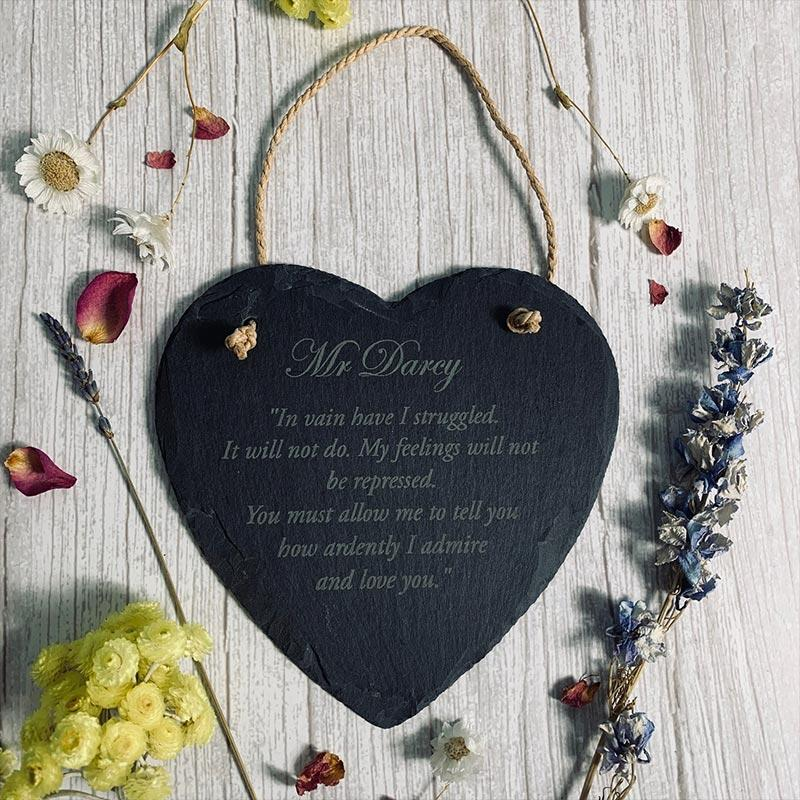 Darcy Quote Slate Plaque - Jane Austen Online