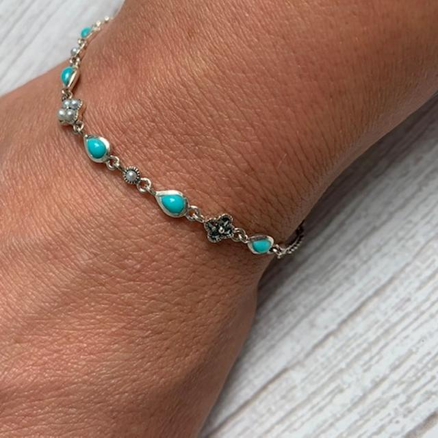 Delicate Silver Bracelet set with Turquoise, Marcasite and Freshwater Pearls - JaneAusten.co.uk