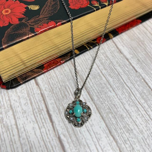 Turquoise, Marcasite and Freshwater Pearl Sterling Silver Necklace - Jane Austen Online