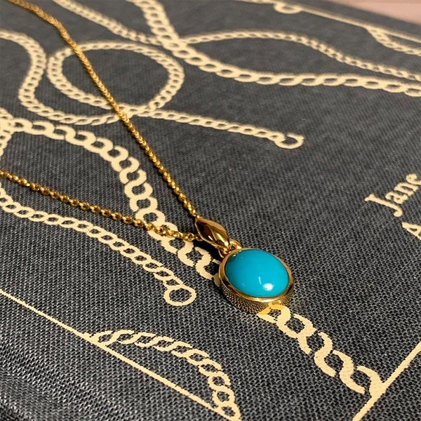 Beautiful Gold and Turquoise Jane Austen Pendant Necklace - JaneAusten.co.uk