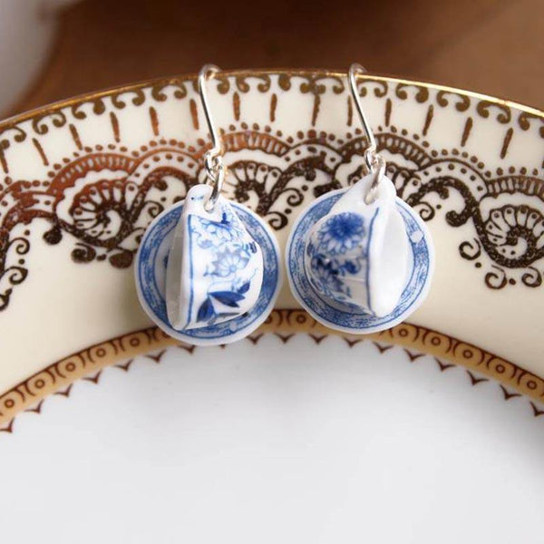 Afternoon Tea Jewellery: Teacup and Saucer Earrings - JaneAusten.co.uk