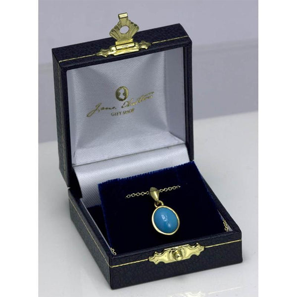 Beautiful Gold and Turquoise Jane Austen Pendant Necklace
