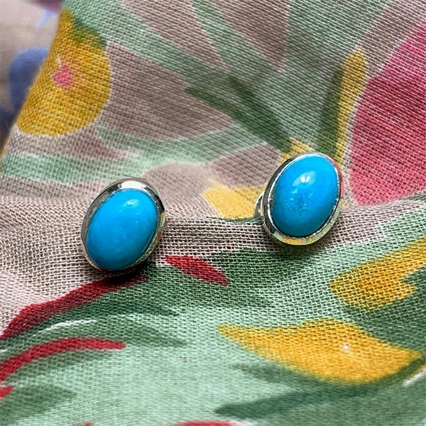 Beautiful Silver and Turquoise Stud Jane Austen Earrings - JaneAusten.co.uk