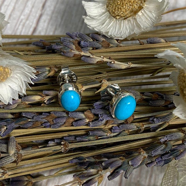 Beautiful Silver and Turquoise Stud Jane Austen Earrings - Jane Austen Online