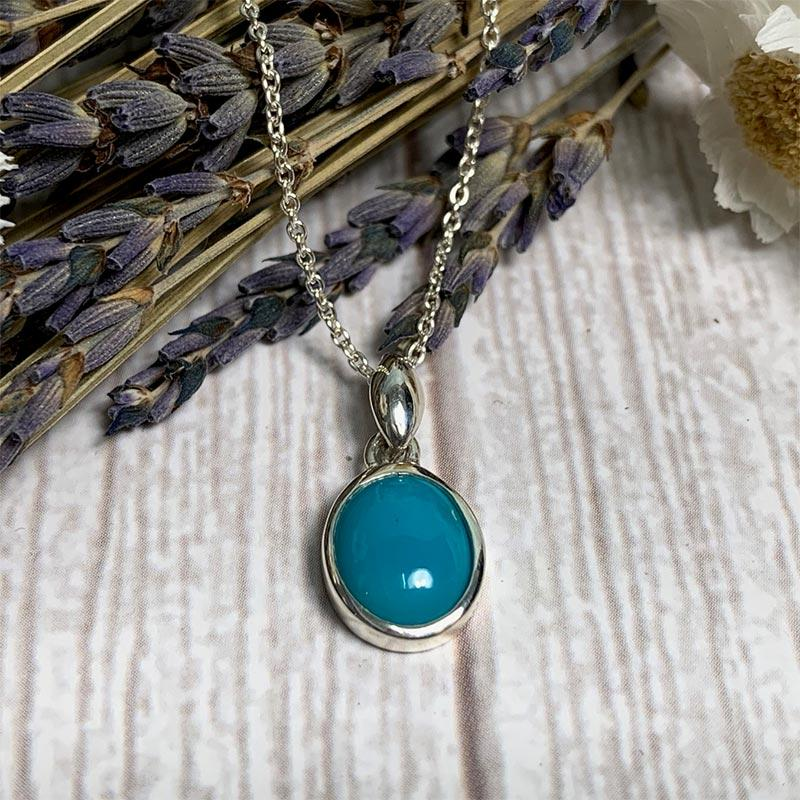 Beautiful Silver and Turquoise Jane Austen Pendant Necklace - Jane Austen Online