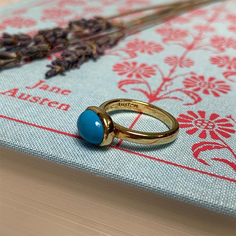 Jane Austen's Ring Replica in Turquoise and Gold-Plated Silver - JaneAusten.co.uk