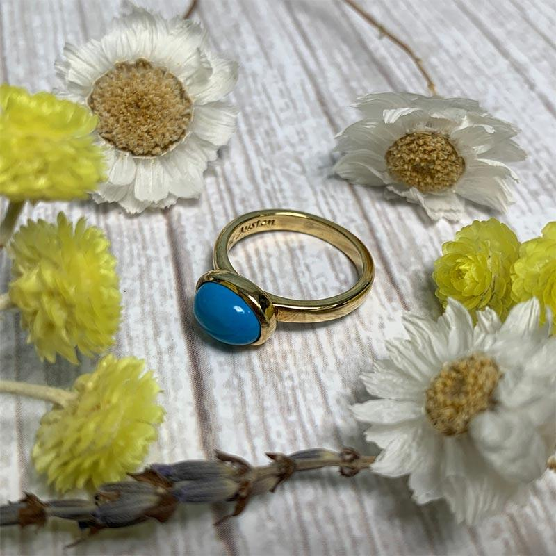 Jane Austen's Ring Replica in Turquoise and Gold-Plated Silver - Jane Austen Online