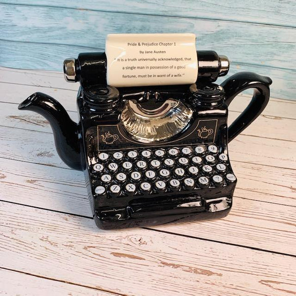 "Exclusively Handmade Typewriter Teapot - ""Pride & Prejudice Chapter 1"" - Jane Austen Online"