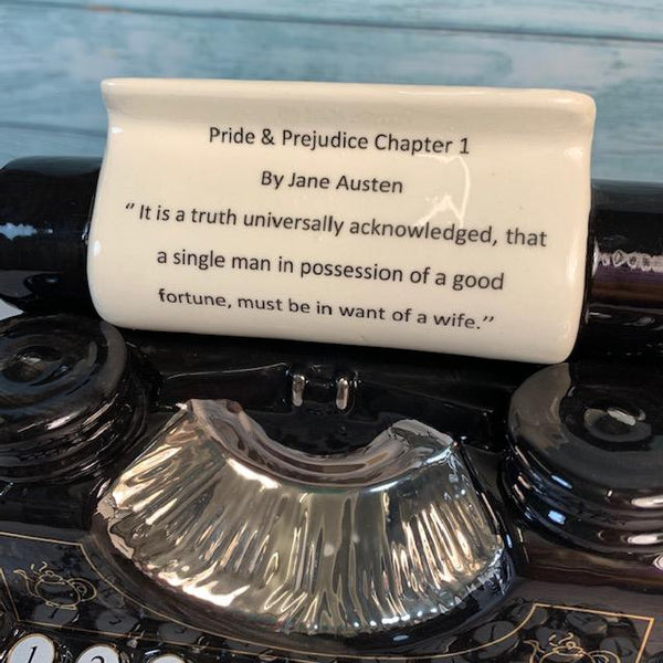 "Exclusively Handmade Typewriter Teapot - ""Pride & Prejudice Chapter 1"" - JaneAusten.co.uk"