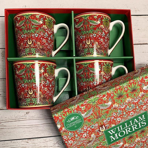 Set of 4 William Morris Strawberry Thief Mugs - JaneAusten.co.uk