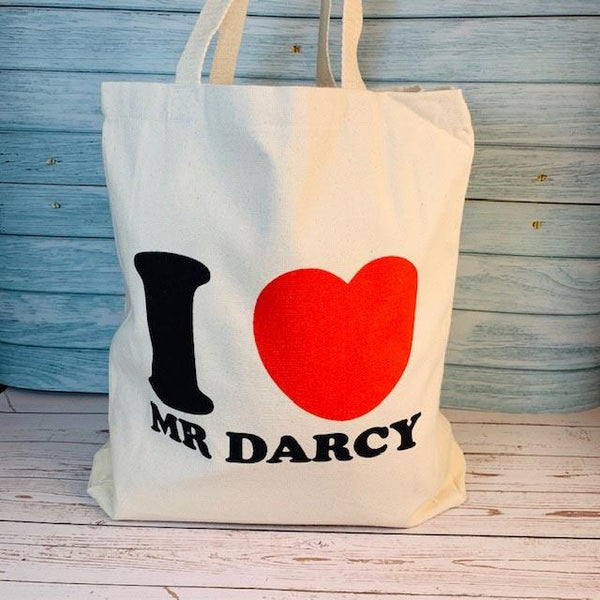 I Love Mr Darcy Tote Bag - White - JaneAusten.co.uk
