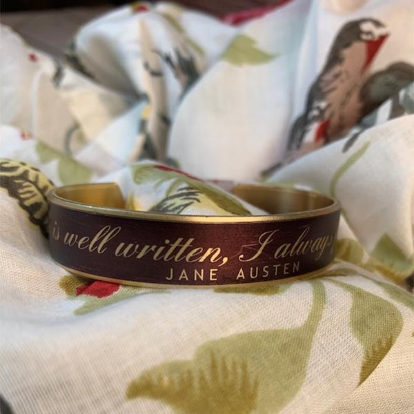 "Jane Austen Cuff Bracelet - ""If a book..."" - JaneAusten.co.uk"