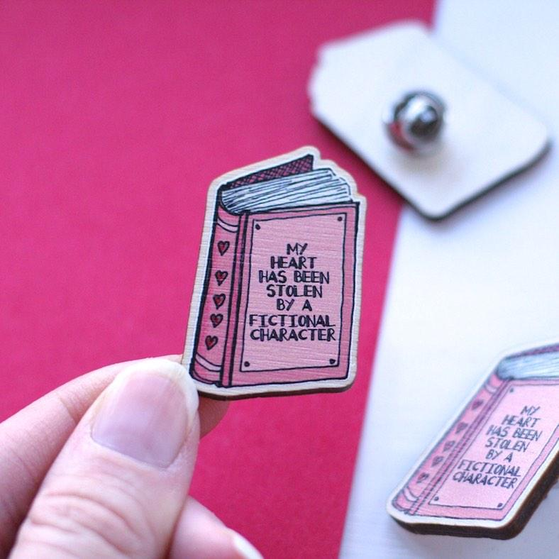 Wooden 'My Heart Has Been Stolen' Book Pin Badge - Jane Austen Online