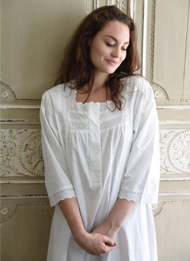 Хлопок Regency Nightgown - Джейн - JaneAusten.co.uk