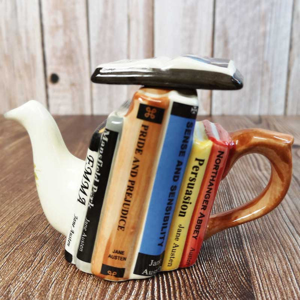 Handmade Jane Austen Teapot - Stacked Novels - One Cup - JaneAusten.co.uk