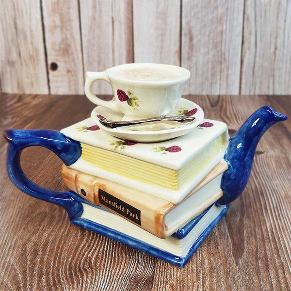 Handmade Jane Austen Teapot - Jane Austen Books and Teacup - JaneAusten.co.uk
