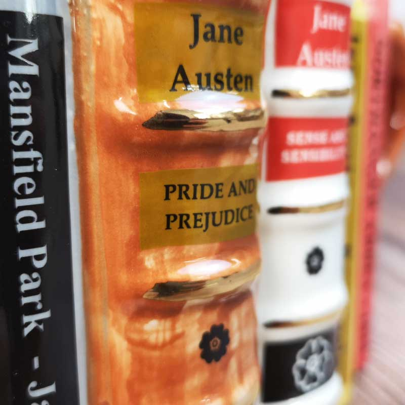 Handmade Jane Austen Teapot - Stacked Novels - JaneAusten.co.uk