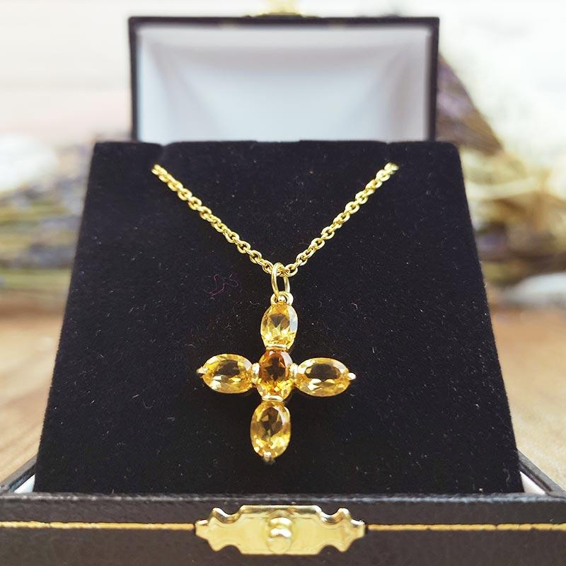Jane Austen Topaz Cross - Replica in Citrine and Gold-Plated Sterling Silver - JaneAusten.co.uk