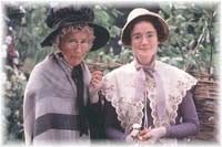 Real life mother and daughter Phyllida Law and Sophie Thompson as Mrs. and Miss Bates. Phyllida's other daughter is Emma Thompson.