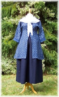 late Georgian dress with bib front closure for easy breast feeding, one side opened