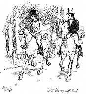 Mr. Bingley and Mr. Darcy arriving at Longbourn, by Hugh Thompson, 1894