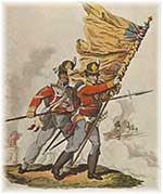 Ensigns raise the flag in battle