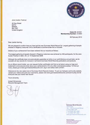 Guinness World Records letter