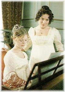 Elizabeth Bennet assists Georgianna Darcy at the piano. A&E, 1995.