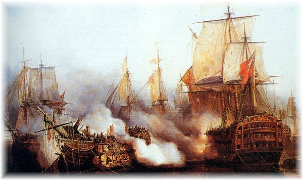 Redoutable being fired upon by Temeraire at Trafalgar, after having fought for more than two hours against Nelson's Victory