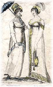 British Fashion Plate of White Walking Dress and White Full Dress or Evening Dress