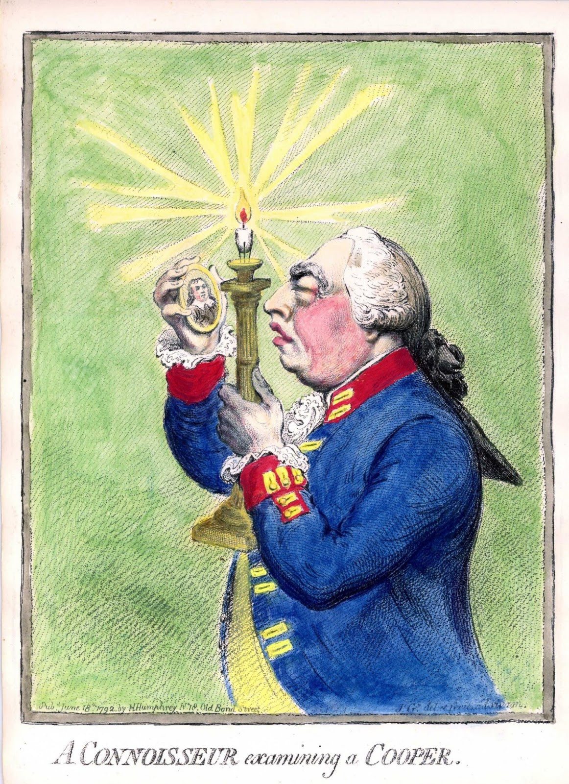 A Connoisseur Examining a Cooper, by Gillray, 1792