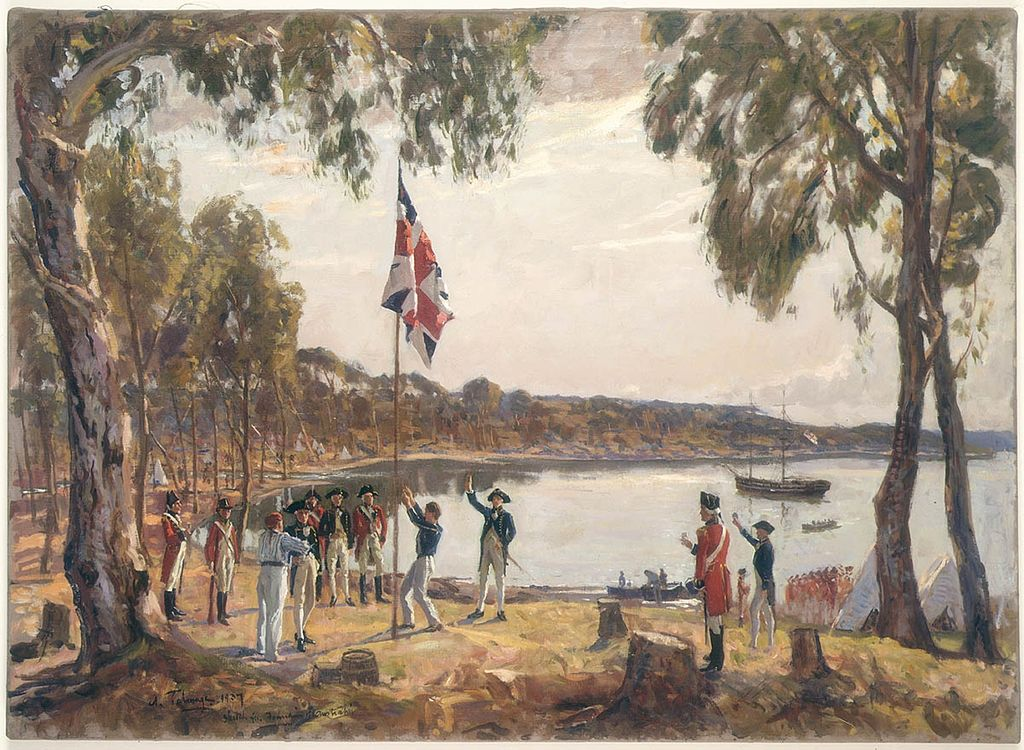 Governor Arthur Phillip hoists the British flag over the new colony at Sydney in 1788.
