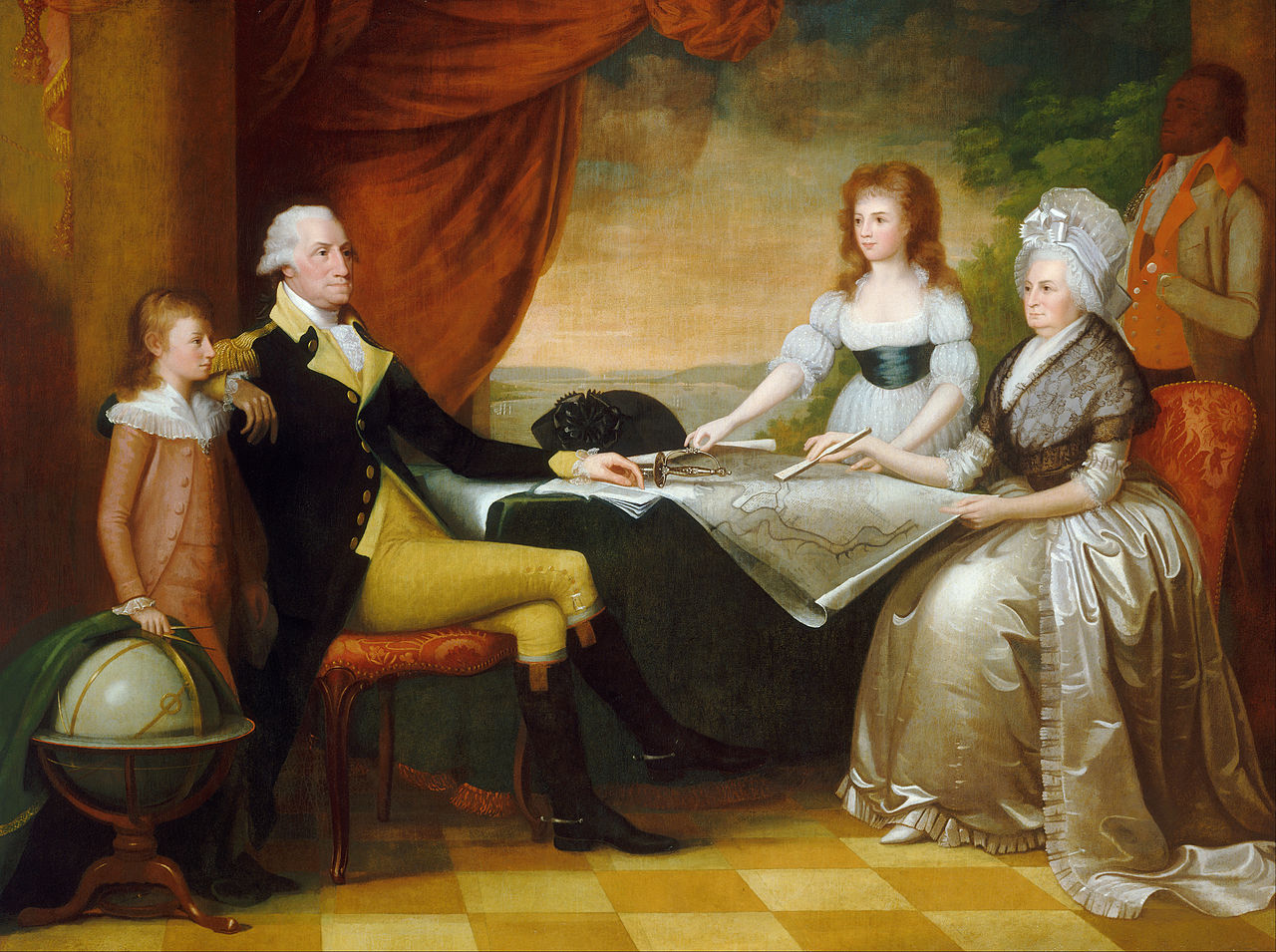 """The Washington Family. Martha, at right, in her decorated """"Mob Cap""""."""