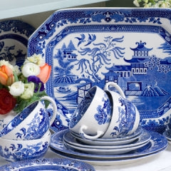 Fragments of Willow ware were found amidst the rubble.