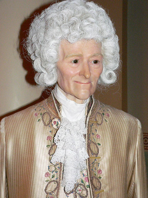 The wax statue of Voltaire on display at Madame Tussauds, London.