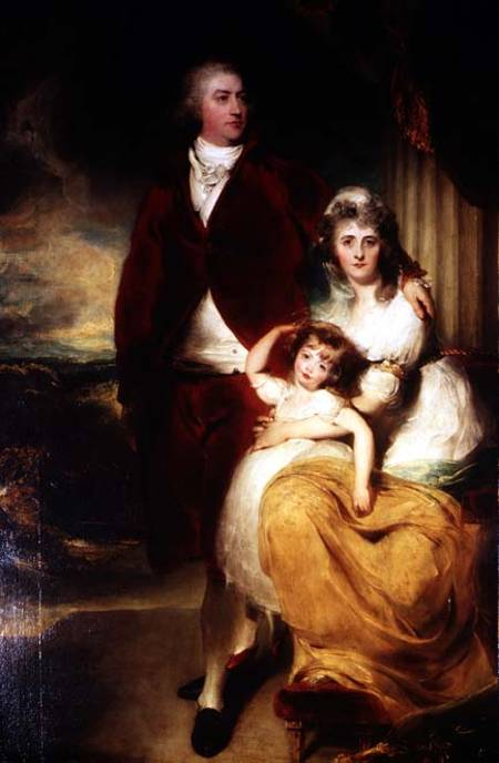 The Marquess of Exeter with his second wife, Sarah, and their daughter, Lady Sophia Cecil. By Thomas Lawrence.