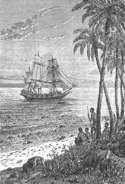 "Illustratrion from ""Mutineers of the Bounty"" by Jules Verne, illustration by Leon Bennett."