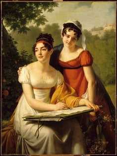 This untitled portrait shows two young ladies with an estimated date f 1805-1815.