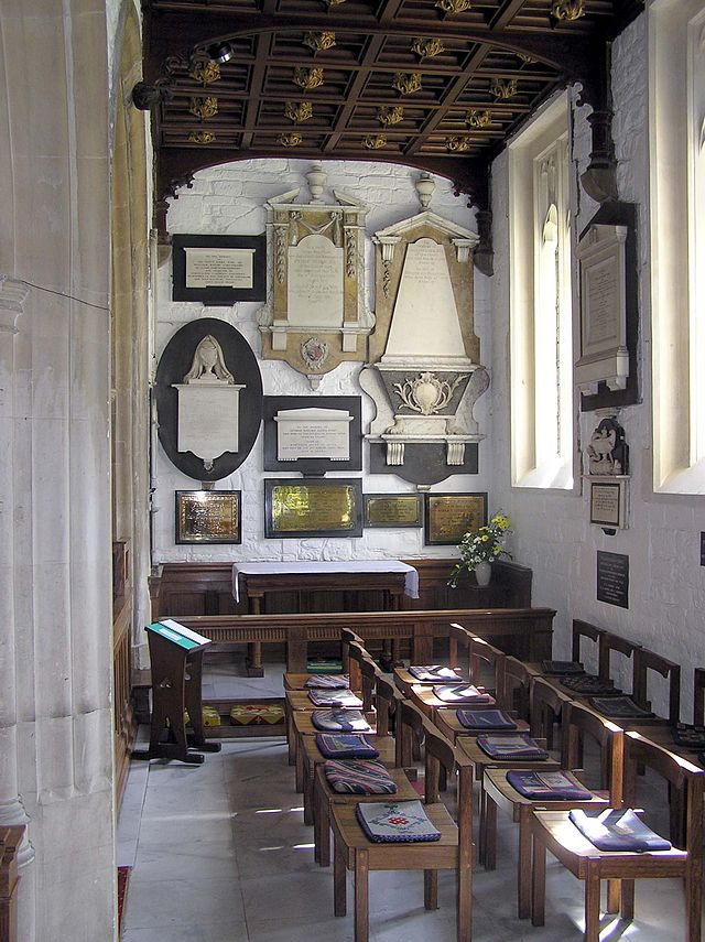 The Australia Chapel in St Nicholas Church, Bathampton, near Bath, England. The memorial to the first governor of New South Wales, Arthur Phillip, is on the right hand wall