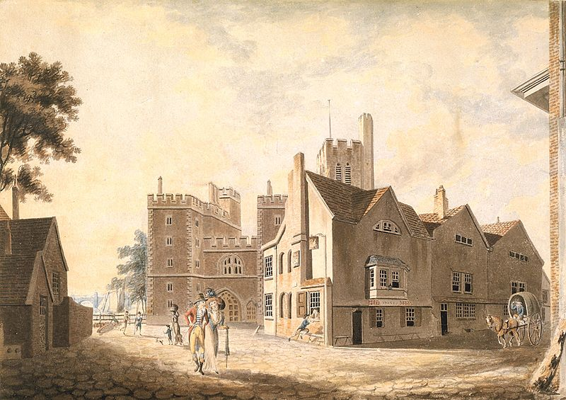 A View of the Archbishop's Palace, Lambeth Description  This watercolour was Turner's first to be accepted for the Royal Academy's annual exhibition in April 1790, the month he turned fifteen. The watercolour showcases Turner's progress in mastering perspective, showing several buildings at dramatically different angles. (1790)