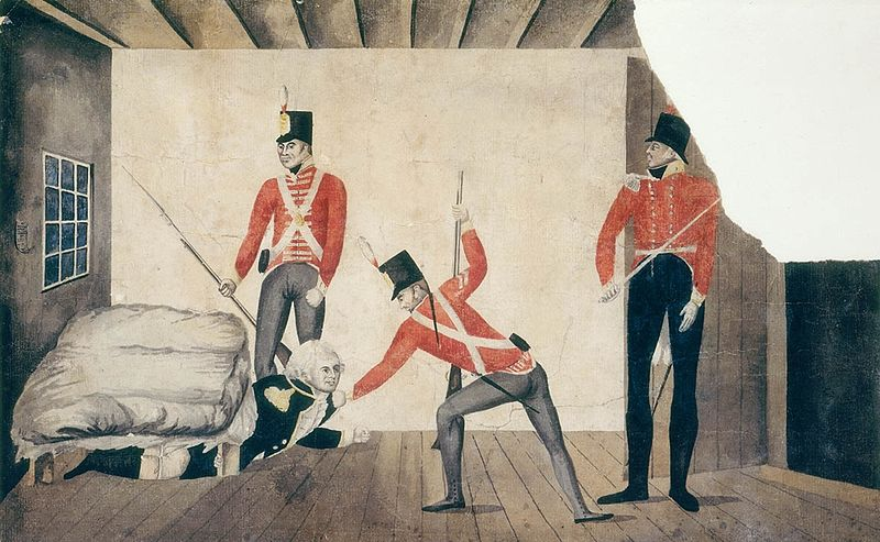 A propaganda cartoon of Bligh's arrest in Sydney in 1808, portraying Bligh as a coward