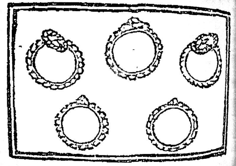 "Illustration of ""five gold rings"", from the first known publication of ""The Twelve Days of Christmas"" (1780)"