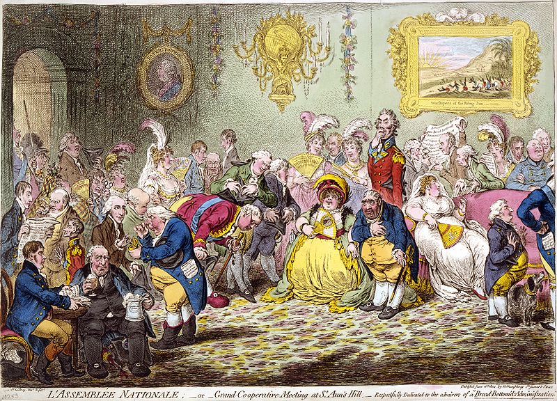 "L'Assemblée Nationale (1804) was called ""the most talented caricature that has ever appeared"", partly due to its ""admirable likenesses"". The Prince of Wales paid a large sum of money to have it suppressed and its plate destroyed."