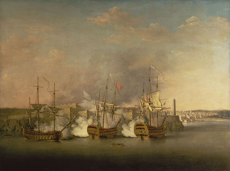 The bombardment of Marro Castle on Havana - Lindsay is being rowed out from the Trent to take command of the Cambridge, right